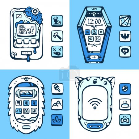 Illustration pour Ensemble de téléphones monstres vectoriels détaillés du futur avec les pièces mécaniques et les boutons sur un fond blanc et bleu. Thème : eti, chat, cercueil, cerveau - image libre de droit