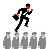 Vector illustration of a man in a suit tie and with briefcase r