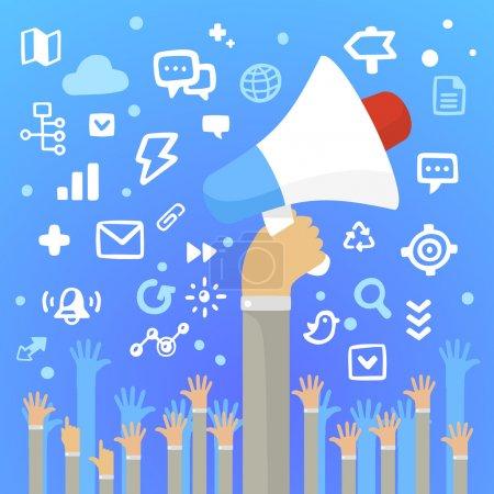 Illustration pour Illustration vectorielle lumineuse main d'homme tenant un grand haut-parleur blanc au-dessus des mains de beaucoup de gens sur un fond bleu avec différentes icônes d'application - image libre de droit