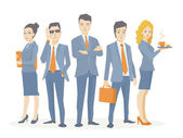 Vector illustration of a business team of young business people