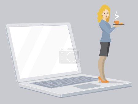 Vektor-Illustration von Miniatur-Frauenporträt Sekretärin mit c