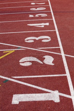 Numbers on the start of a running track