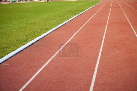 Running track lanes on the stadium