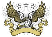Vector illustration white head eagle spreading wings and holding brown ribbon