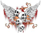 Four white skulls with wings and red ribbons