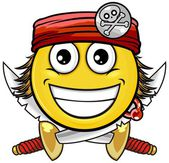 Pirate smiley with sword and red head band