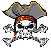 Skull and crossbones with head band and gray pirate hat
