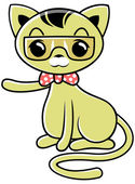 Cartoon brown cat with glasses and pink necktie