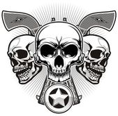 Three skulls with double handguns and badge