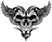 Symmetrical skull and wings on black white