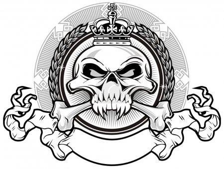 Illustration pour Crâne et os croisés avec couronne royale et ruban - image libre de droit