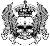 Skull with wings and crown