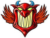 Smiling red devil with wings and blue horn