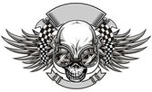 Skull and wings with goggle and racing flag