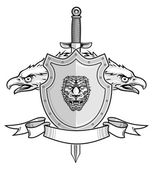 Illustration of shield and sword with balded eagle heads in vector