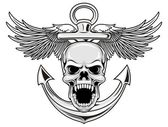 Illustration of skull with anchor and wings in vector