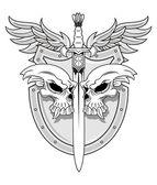 Illustration of skulls with sword shield and wings in vector