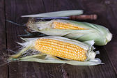 Sweet corns on dark rustic wooden background