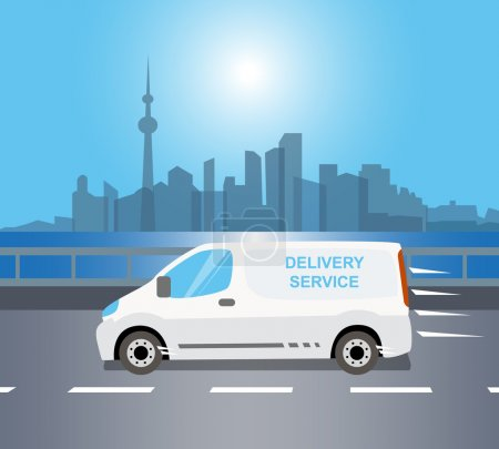 Illustration for White delivery Van is moving through a river at early morning - Royalty Free Image