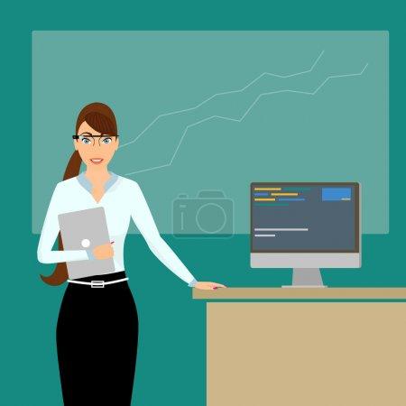 Illustration pour Coach d'affaires avec un ordinateur portable dans la main droite au moment de la conférence portant des lunettes intelligentes - image libre de droit