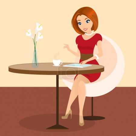 Illustration pour Jolie jeune femme siégeant seul au café et à l'aide d'un tablet pc. contient eps10 et jpeg à haute résolution - image libre de droit