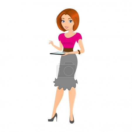 Illustration for Young smiling pretty woman holds a tablet pc in her hand. Contains EPS10 and high-resolution JPEG - Royalty Free Image