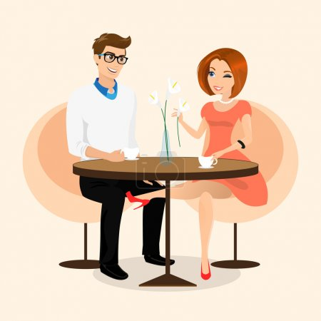 Illustration for Young sensual pretty woman flirts with boyfriend in the cafe. Contains EPS10 and high-resolution JPEG - Royalty Free Image