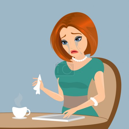Illustration for Young elegant woman is crying in the cafe - close up illustration. Contains EPS10 and high-resolution JPEG - Royalty Free Image