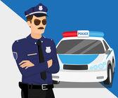 Policeman and police car