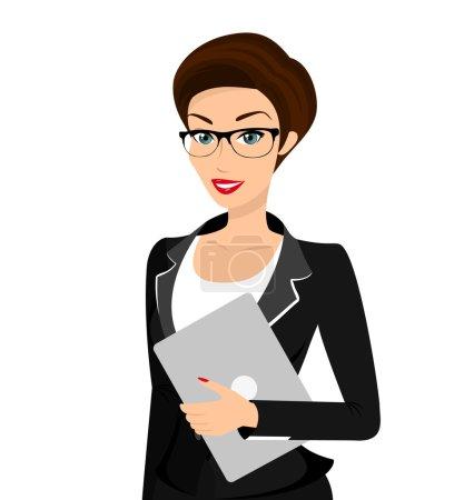 Illustration pour Femme d'affaires porte un costume noir isolé sur blanc. Contient EPS10 et JPEG haute résolution - image libre de droit