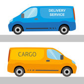 Blue and orange delivery vans isolated