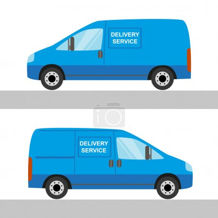 Illustration for Blue delivery van isolated view from two sides on white - Royalty Free Image