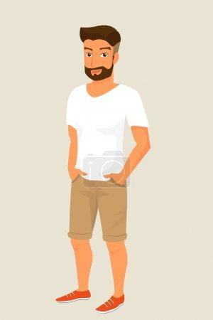 Illustration pour Hipster portait un short beige et un t-shirt blanc. Contient EPS10 et JPEG haute résolution - image libre de droit