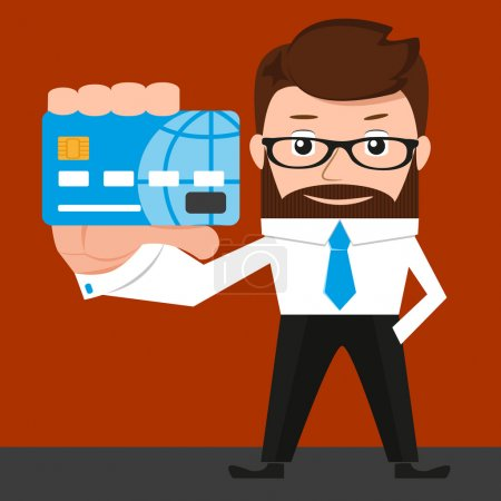Lucky businessman is presenting a credit card