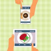 Muž a žena a jejich potraviny umístěné na miniaplikace