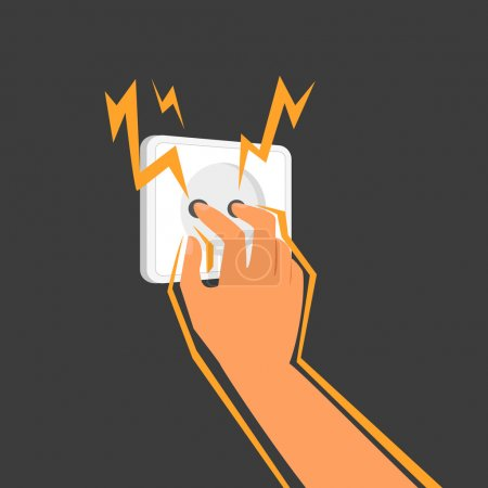 Illustration for Human sticks his fingers into an electrical outlet. - Royalty Free Image