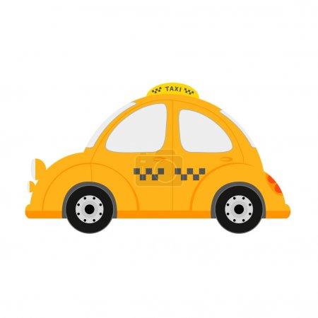 Illustration pour Petite voiture de taxi isolée sur blanc. illustration vectorielle - image libre de droit