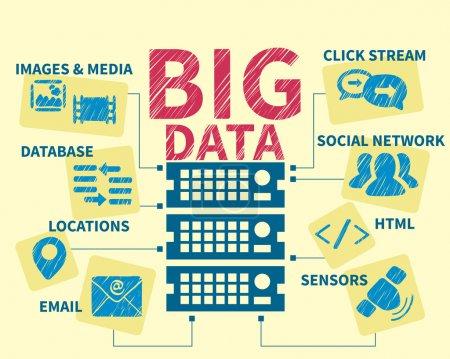 Illustration for Infographic handrawn illustration of Big data system. - Royalty Free Image
