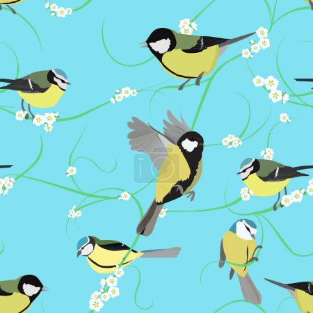 Illustration for Spring titmouse seamless pattern with small white flowers - Royalty Free Image