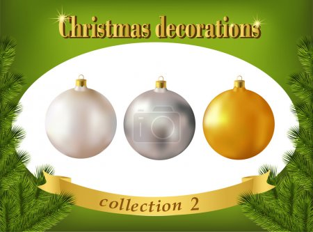 Christmas decorations. Collection of white, silver and golden gl