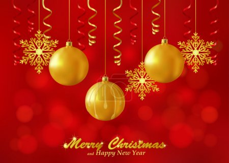 Holiday red background with Christmas ornaments