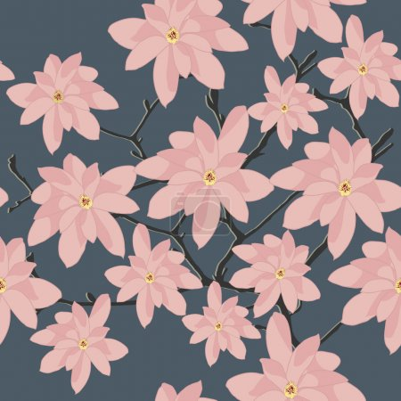 Seamless Pattern with Pink Magnolia Branch