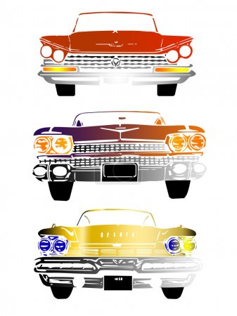 Front view of retro cars