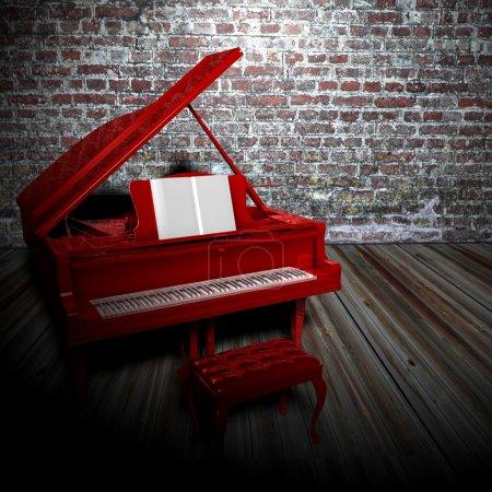 Foto de Habitación oscura con suelo de madera de piano rojo y fondo de pared de ladrillo - Imagen libre de derechos