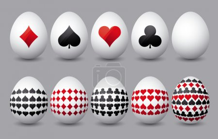 Ten easter eggs with cards symbols over grey background