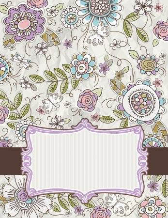 Illustration for Background of hand draw  flowers, vector illustration - Royalty Free Image