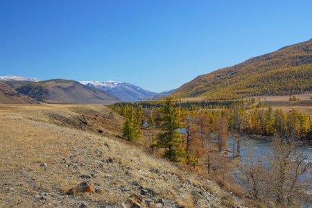 Photo pour La rivière chuya découle de la steppe de chuysky de montagne. puis 15-20 kilomètres l'eau coule sur la montagne de kuraysky creuse. du côté ouest de cette plaine de tyanetets chaîne de montagnes de neige de severo chuyscy de crête. - image libre de droit