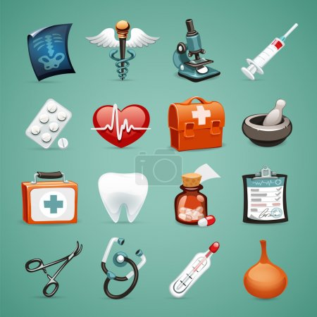 Illustration for Medical Icons Set1.1 In the EPS file, each element is grouped separately. Clipping paths included in additional jpg format. - Royalty Free Image