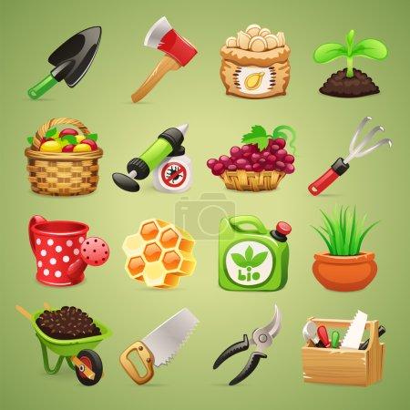 Illustration pour Outils pour agriculteurs Icônes Set1.1. Dans le fichier EPS, chaque élément est regroupé séparément. Couper les chemins inclus dans le format jpg supplémentaire . - image libre de droit