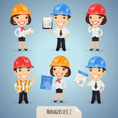 Managers Cartoon Characters In Helmet Set12 In the EPS file each element is grouped separately Clipping paths included in additional jpg format